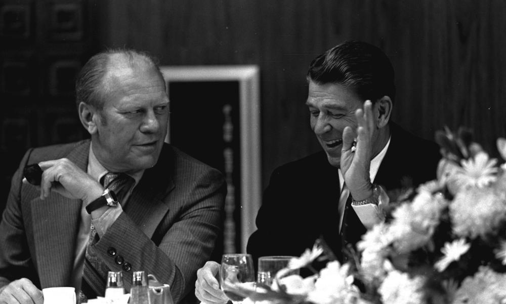 Gerald Ford and Ronald Reagan in 1974.