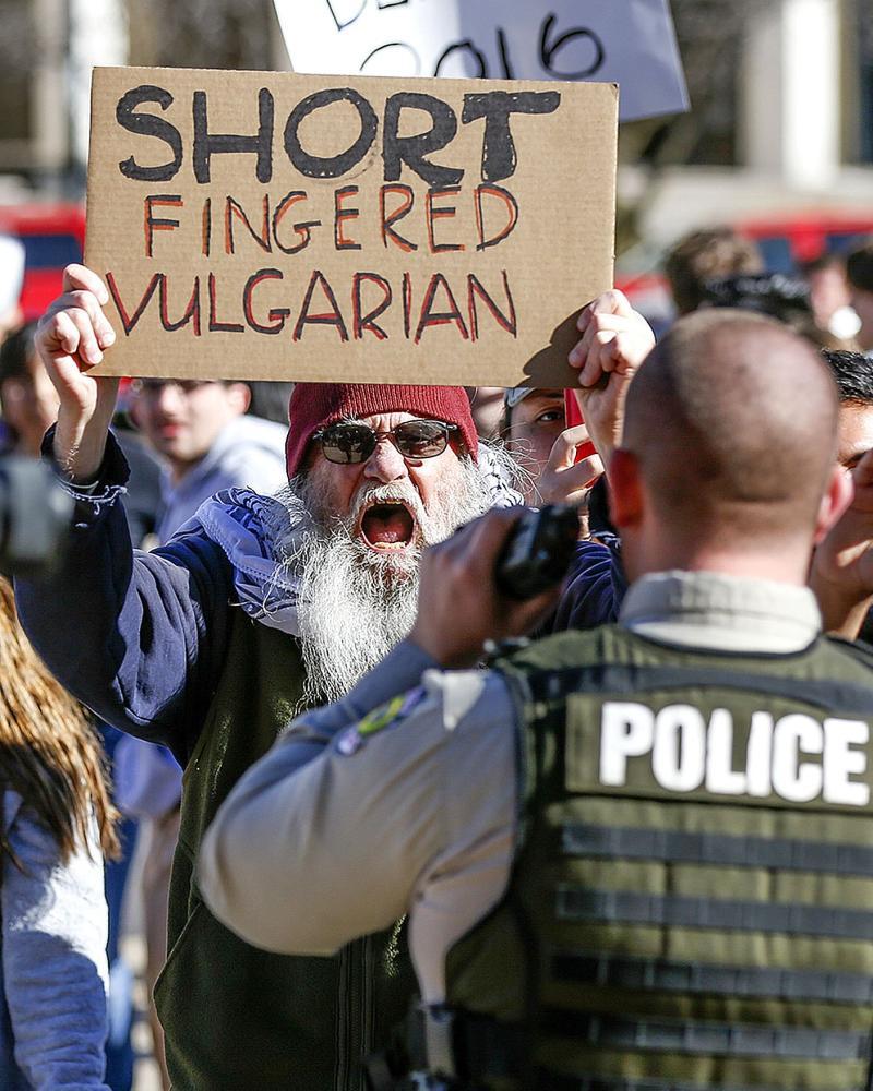 Anti-Trump demonstrator Bill Anderson protests.
