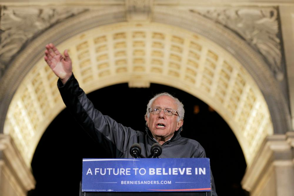 Bernie Sanders under the Washington Square Park arch.