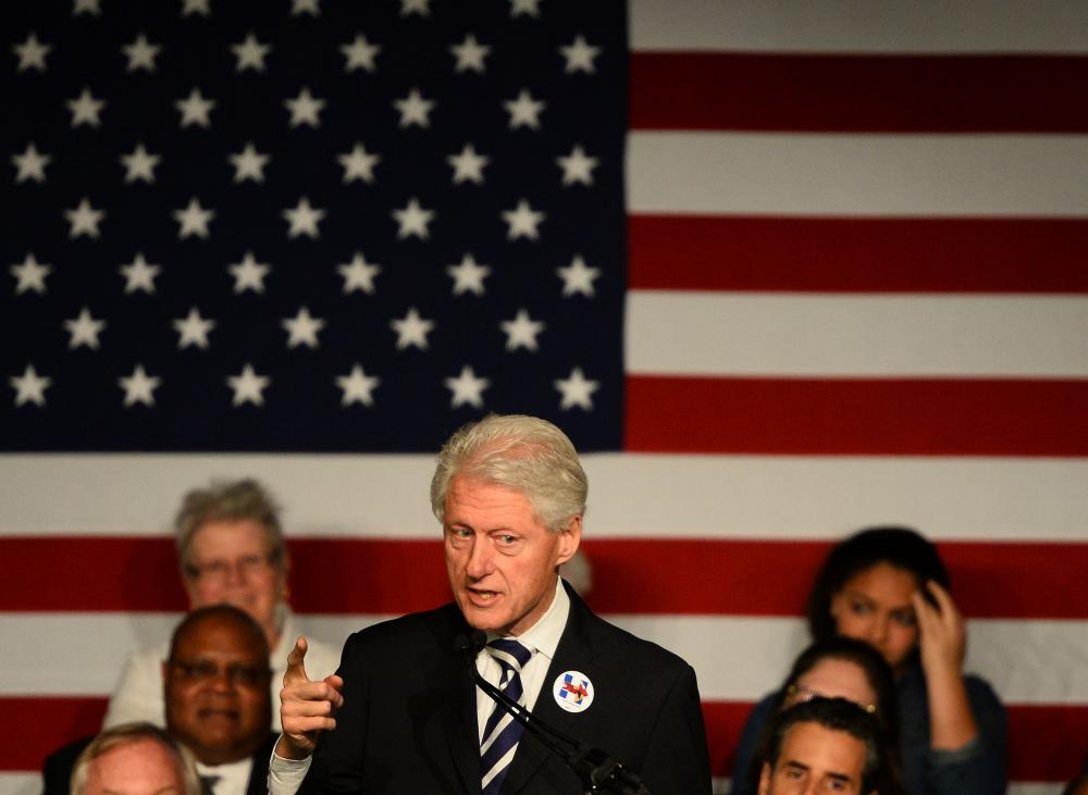 Former president Bill Clinton speaks during a campaign rally for his wife in Silver Spring, Maryland.