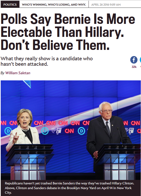 Polls Showed Sanders Had a Better Shot of Beating Trump–but Pundits Told You to Ignore Them