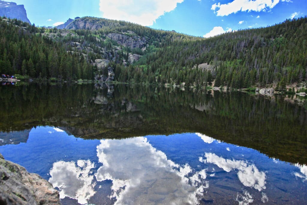 Mirror lake with glass smooth water
