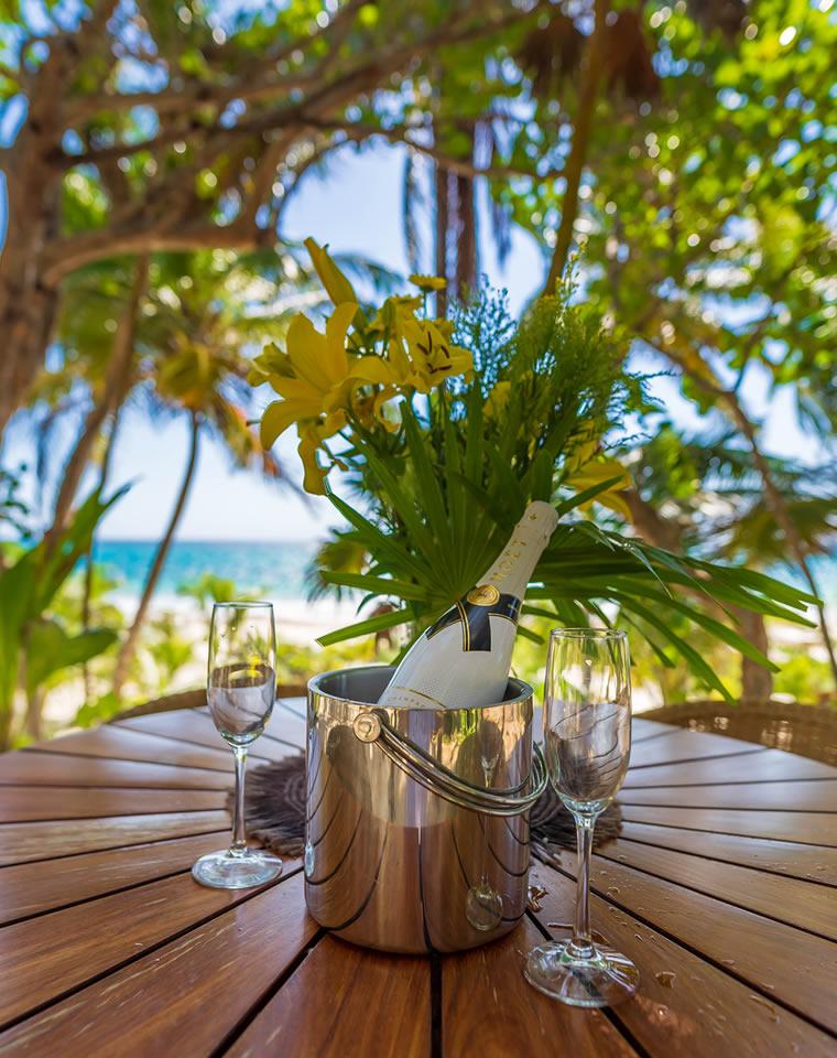 Champagne ocean view at Hacienda Chekul