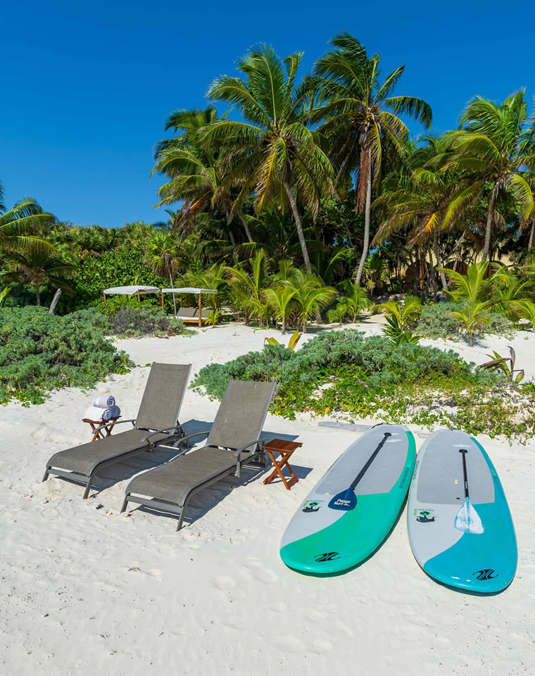 Stand Up Paddle boards on beach in Tulum, Mexico