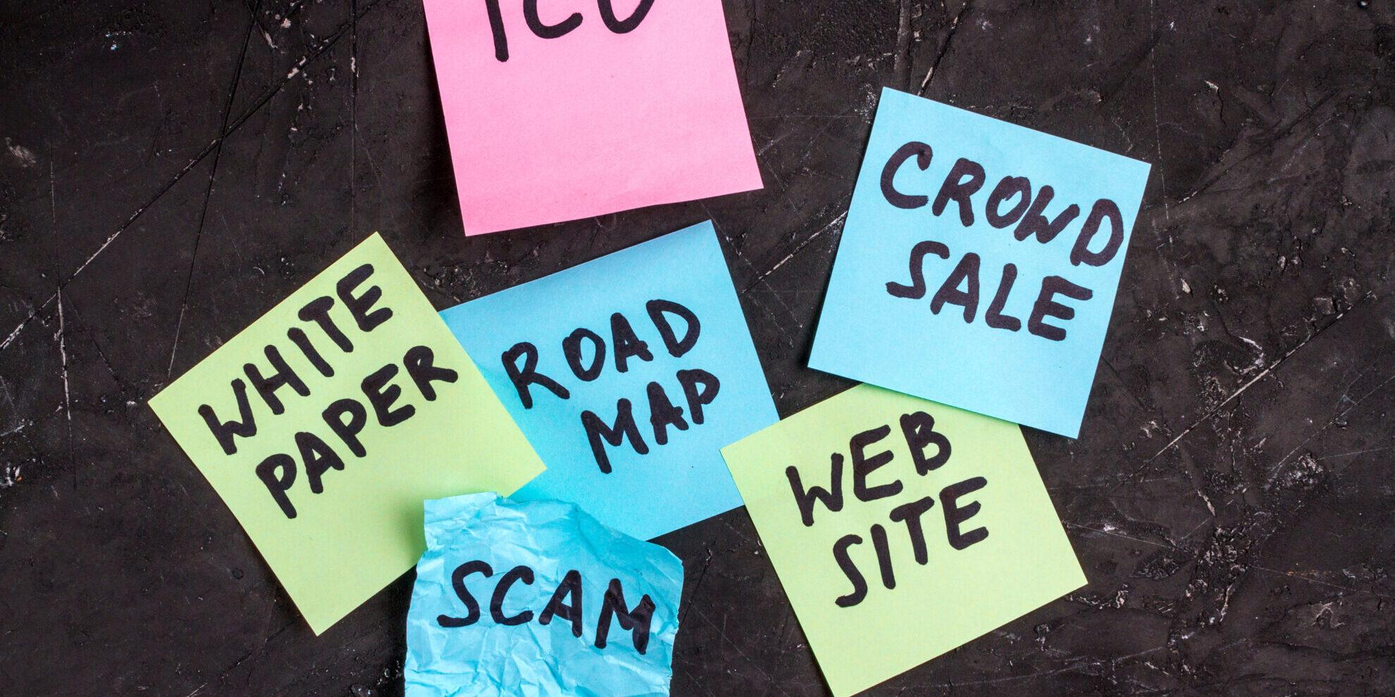 ico scam sticky note