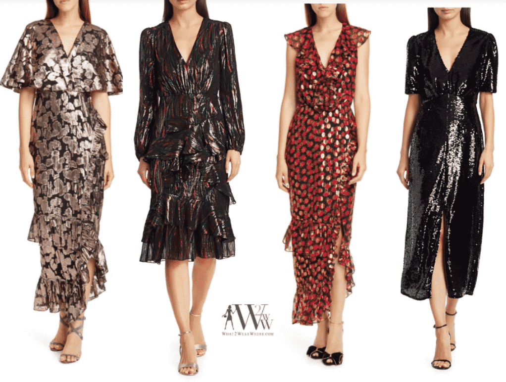 A collection of Saloni dress for the holidays by Karen Klopp, what2wearwhere.