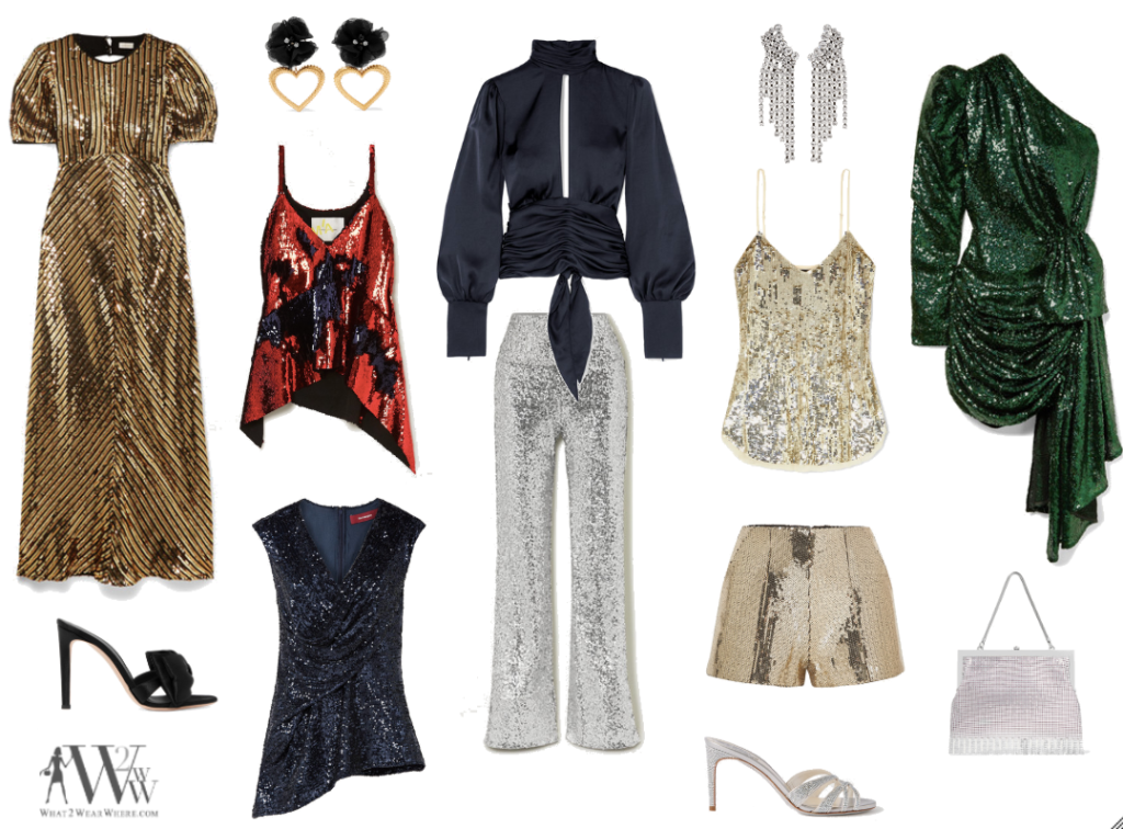 This is a collage of Hilary Dick's sparkling fashion for New Year's Eve.