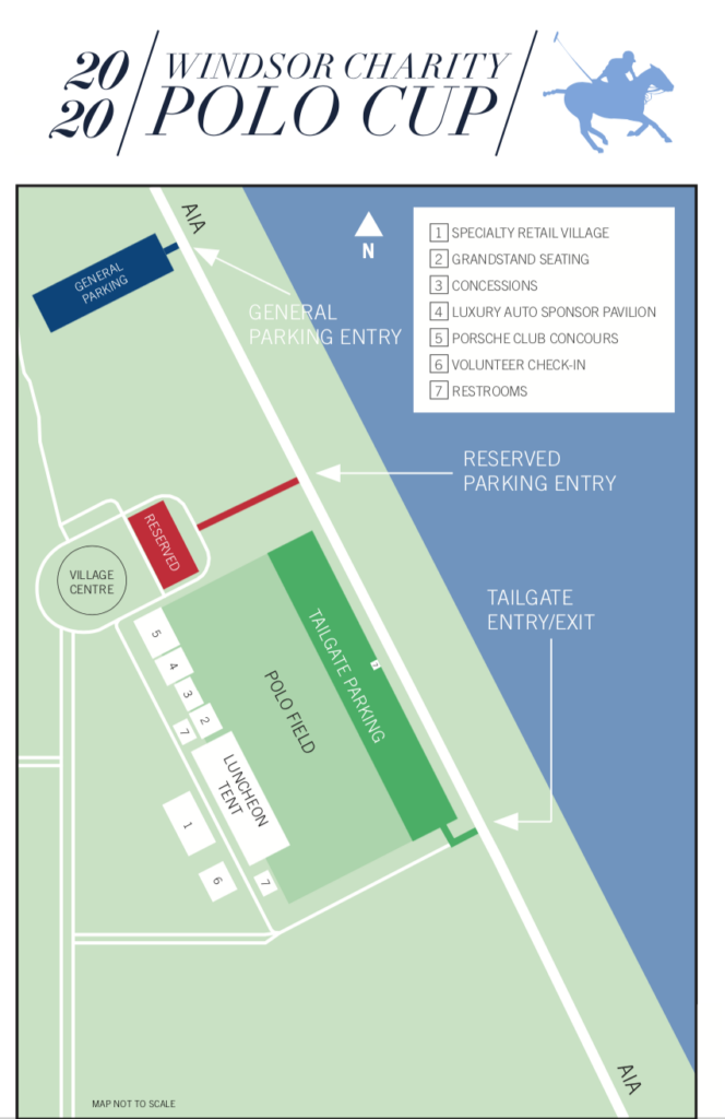 Map of the Windsor Cup Polo, Vero Beach.  What to wear Windsor Charity Polo Cup