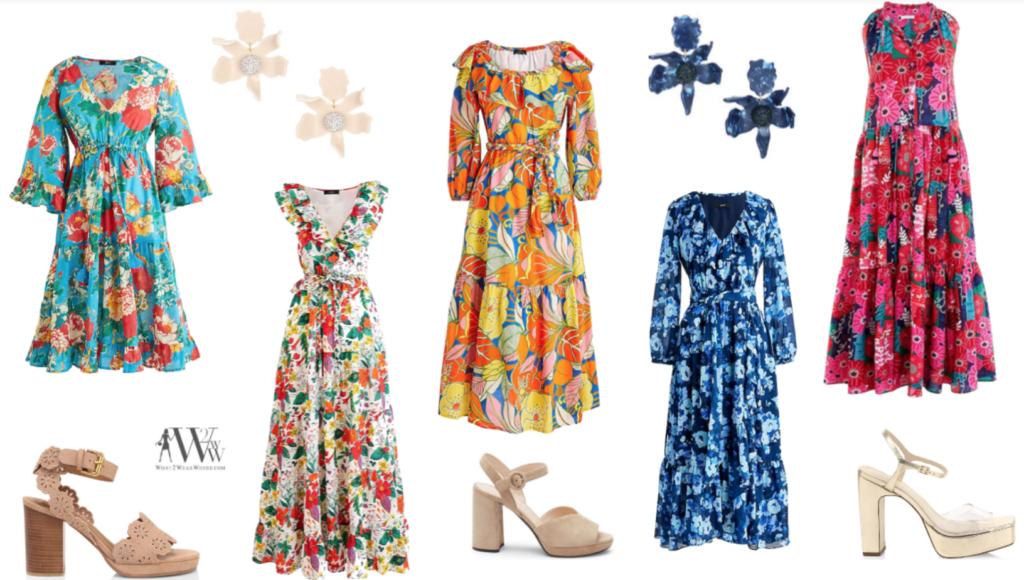Karen Klopp  picks J. Crew floral dresses. dressing for corona virus
