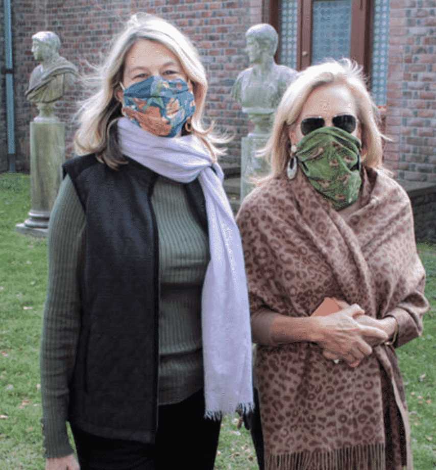Karen Klopp & Ann Colley wearing masks at the Southampton Art Center