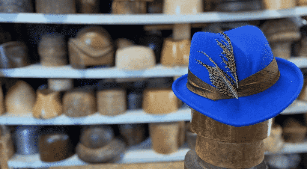 Swan and Stone hats from Vermont. Blue fedora.