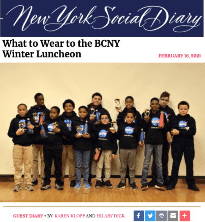 Karen Klopp and Hilary Dick article for New York Social Diary, New York BCNY Winter Luncheon.