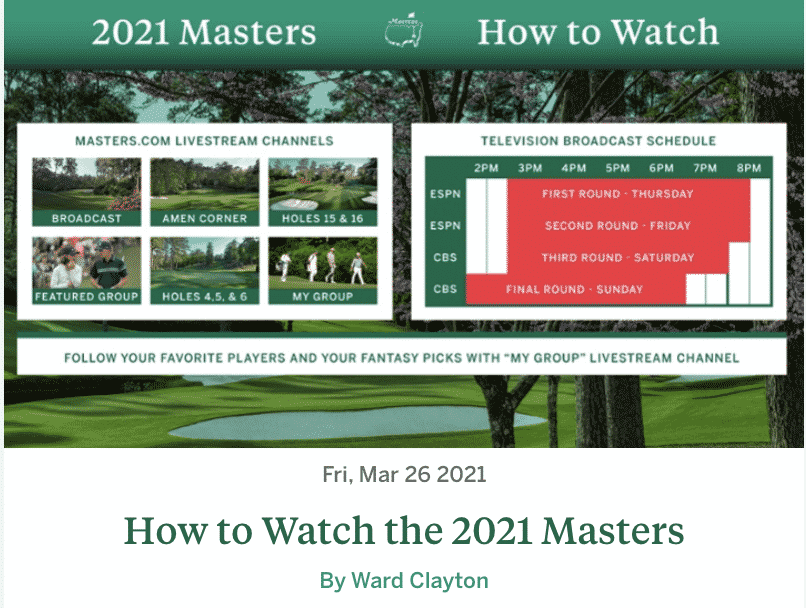 How to watch the masters.
