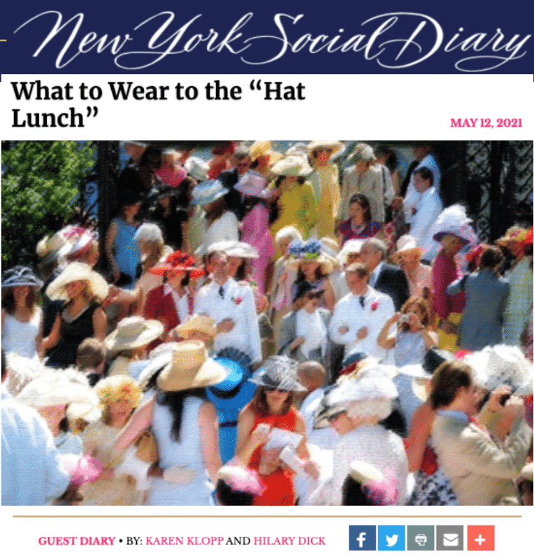 karen klopp, hilary dick, What to wear to Hat Lunch New York Social Diary.