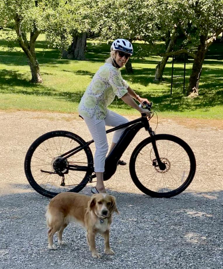 Mita Bland on an electric bike, millbrook, new york