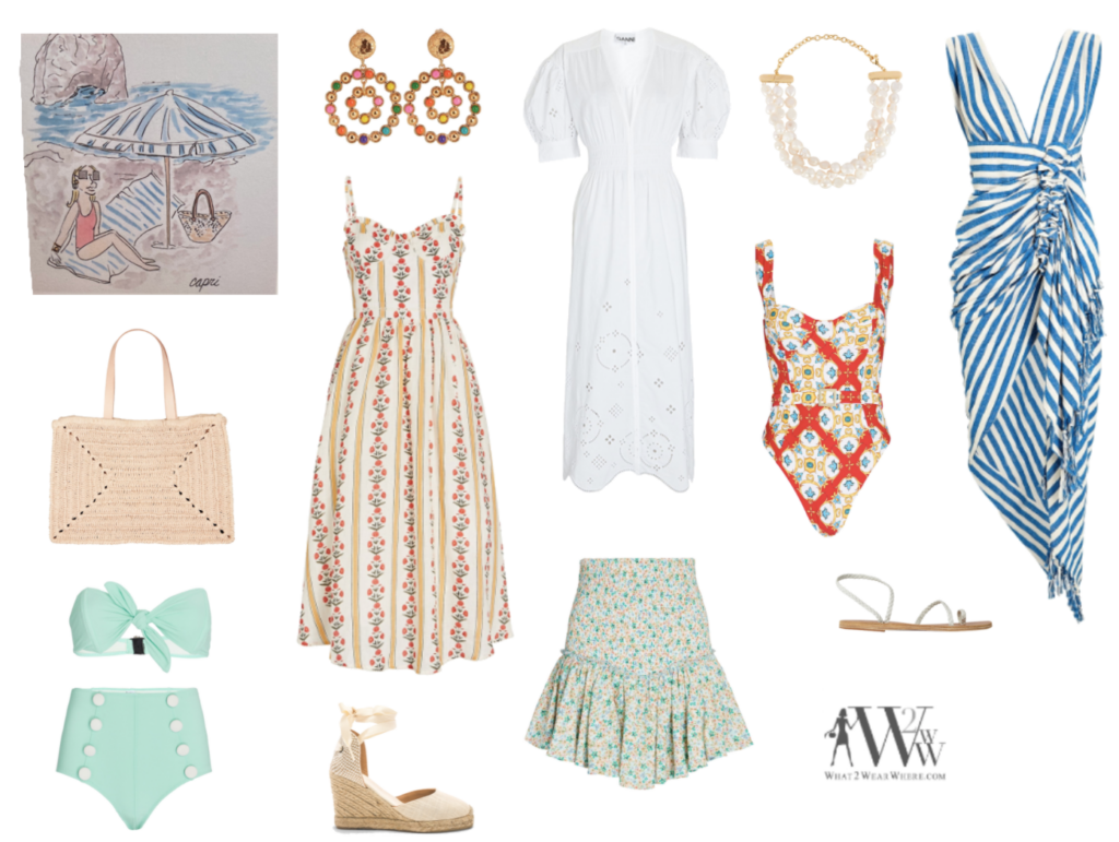 What to wear where, Hilary Dick top choices  for a summer at Capri.