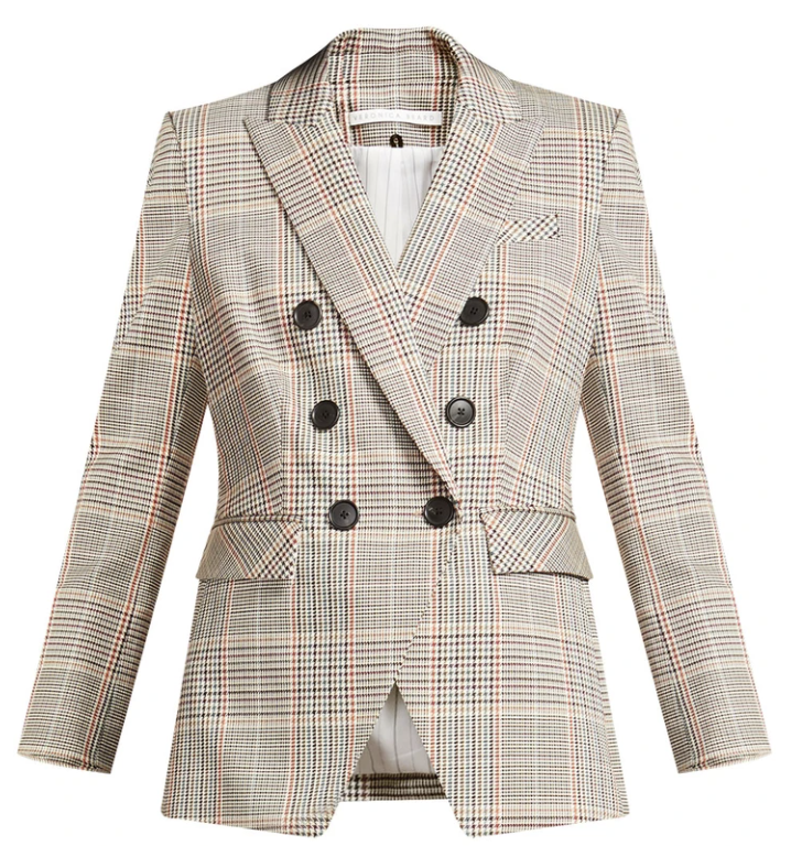 What to wear where, Karen Klopp top choices  for a fall trends on Veronica Beard. Dickey plaid jacket