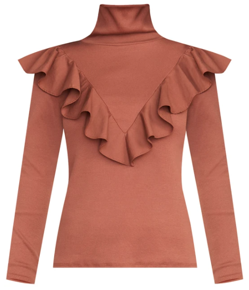 What to wear where, Karen Klopp top choices  for a fall trends on Veronica Beard. Ruffled top.