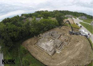 Aerial View New Home Foundation