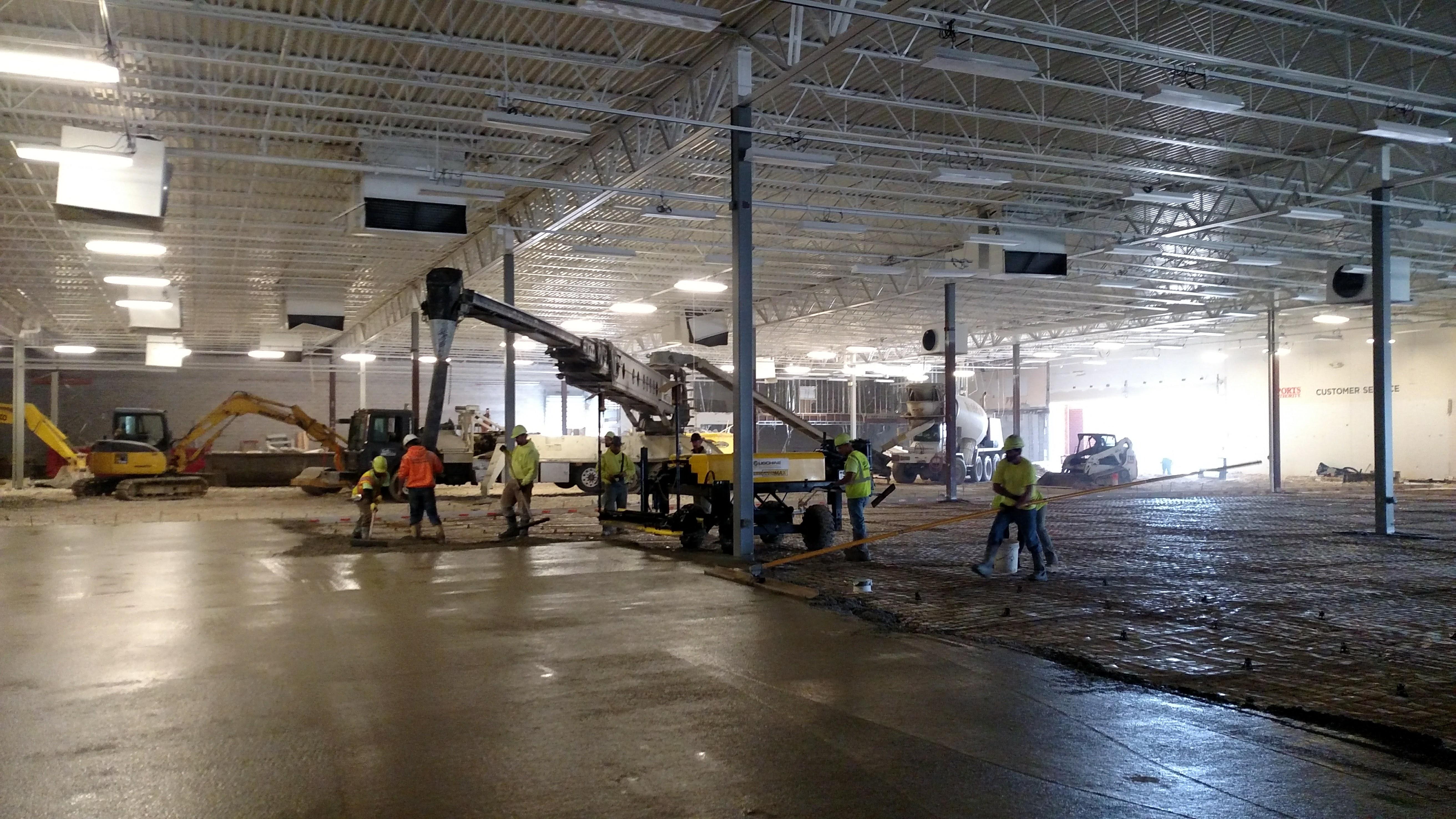 Interior Concrete Flatwork for Commercial Concrete Slab Pour at Floor and Decor