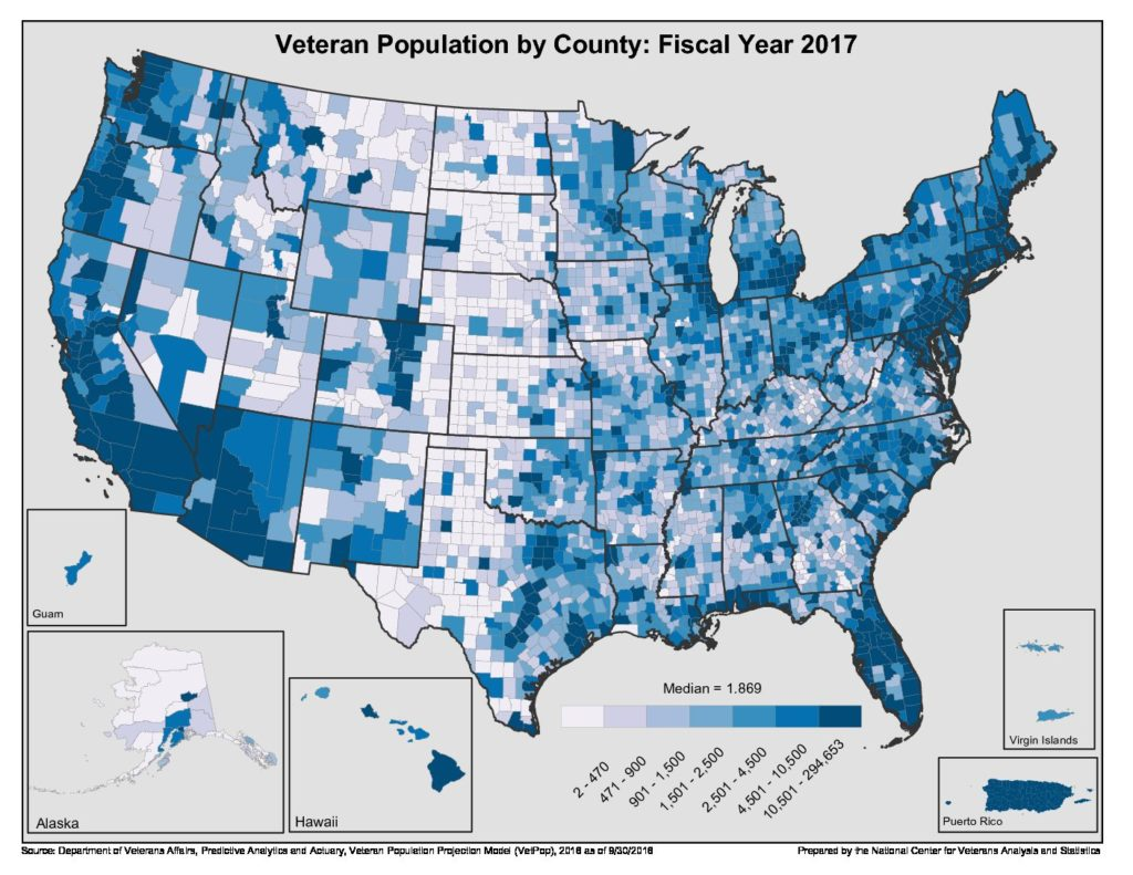 Map of Veteran Population By County FY2017
