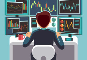Stock market trader looking at multiple computer screens with financial and market charts. Business analysis vector concept. Broker and trader financial on work place illustration