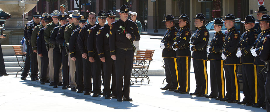 On June 4th 2010 There was a Fallen Peace Officers Memorial in front of the old courthouse in downtown Redwood City. Photo The 100 Club of SMC