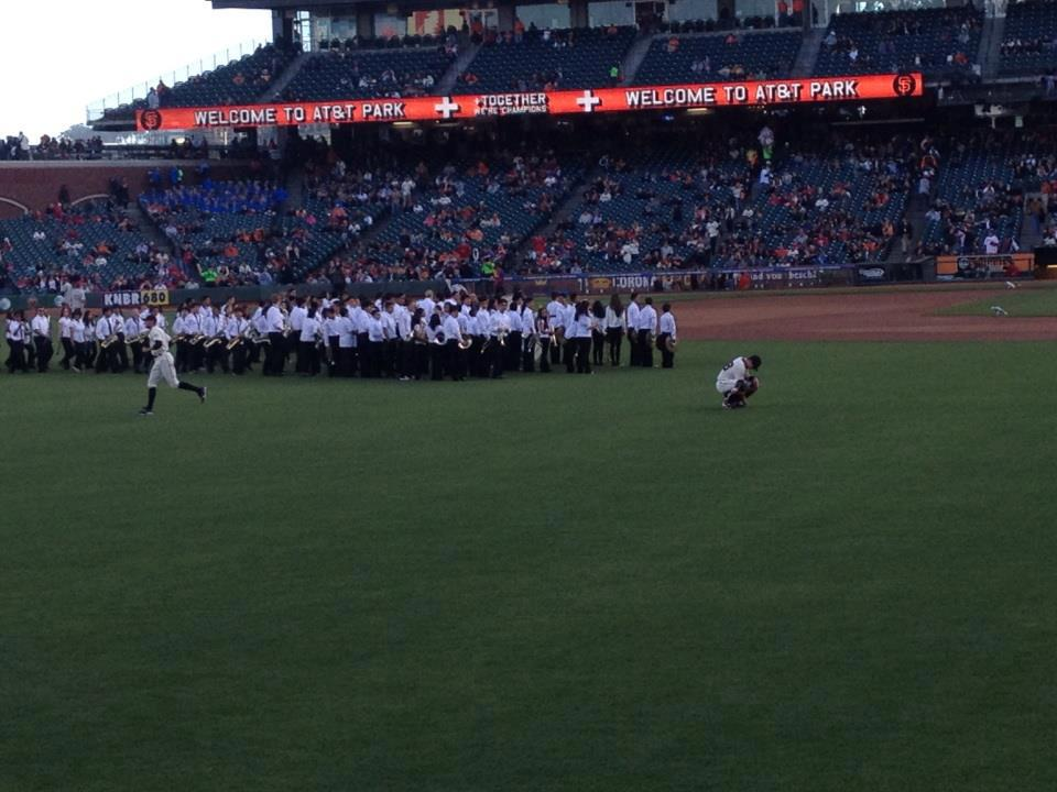 Our students on the field with the GIANTS Photo Brian Perry