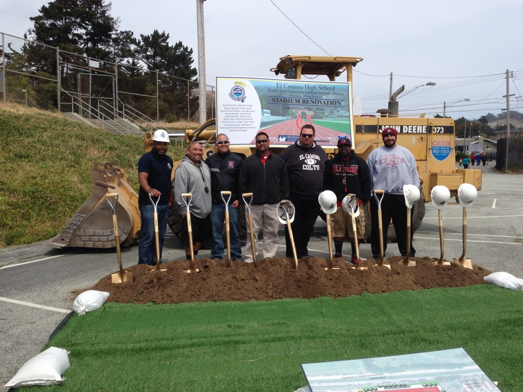 Coaches, including alumni Jacobsen, Turner, Cosico, Junio, join in on the groundbreaking. Photo Angelique Presidente