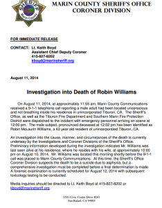 Robin Williams Death press release