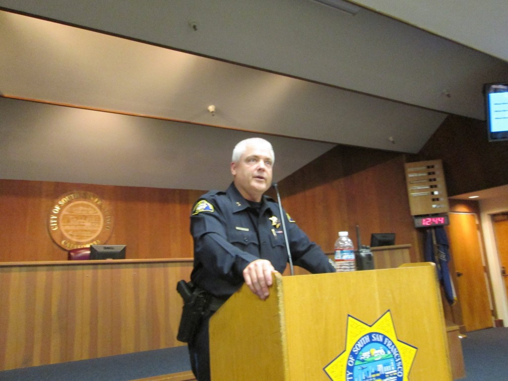 Mike Brosnan stands before a packed Council Chambers Photo: SSFPD