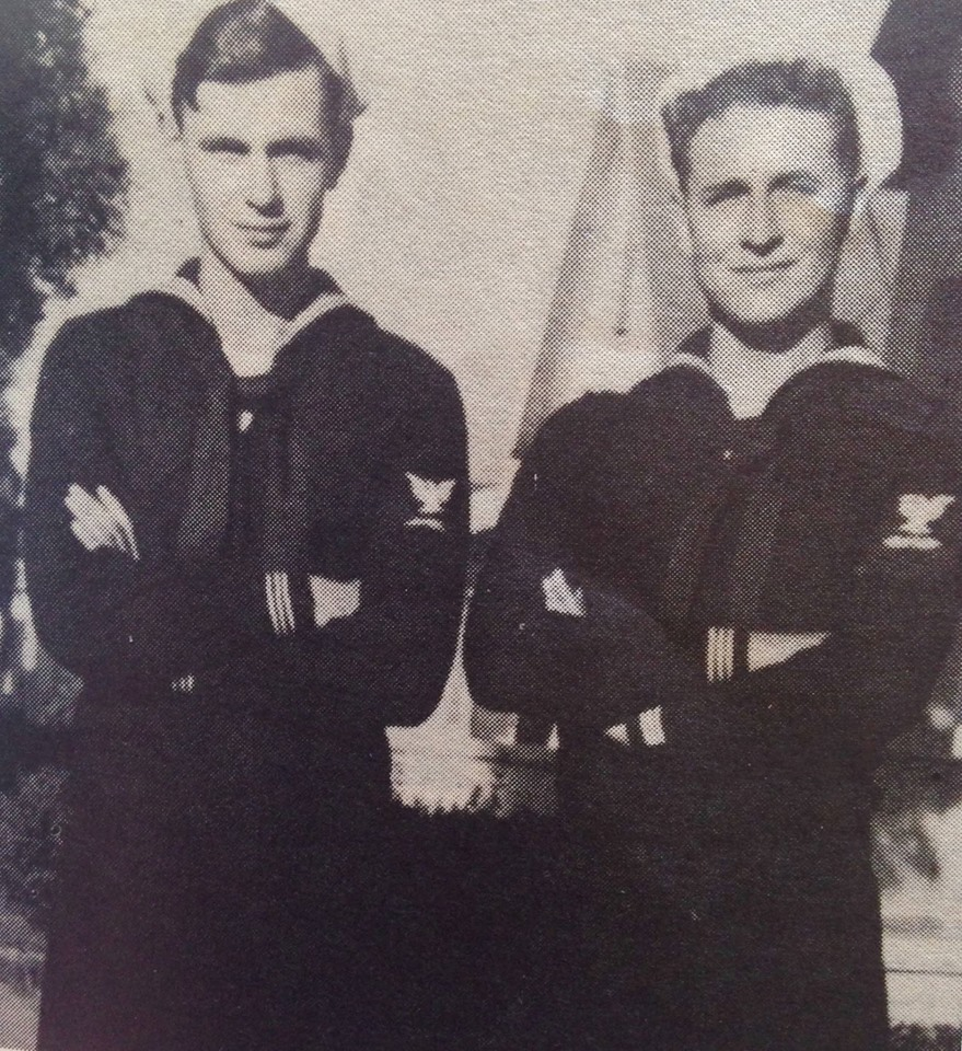 Brothers Leonard and Albert Dimminger (Sons of Mrs. & Mrs. Adalbert Dimminger) Leonard, petty officer 2/c, spent 19 months in the South Pacific. 18 of months those in active combat on a PBY Navy bomber as a radio operator. Albert, petty officer 1/c.