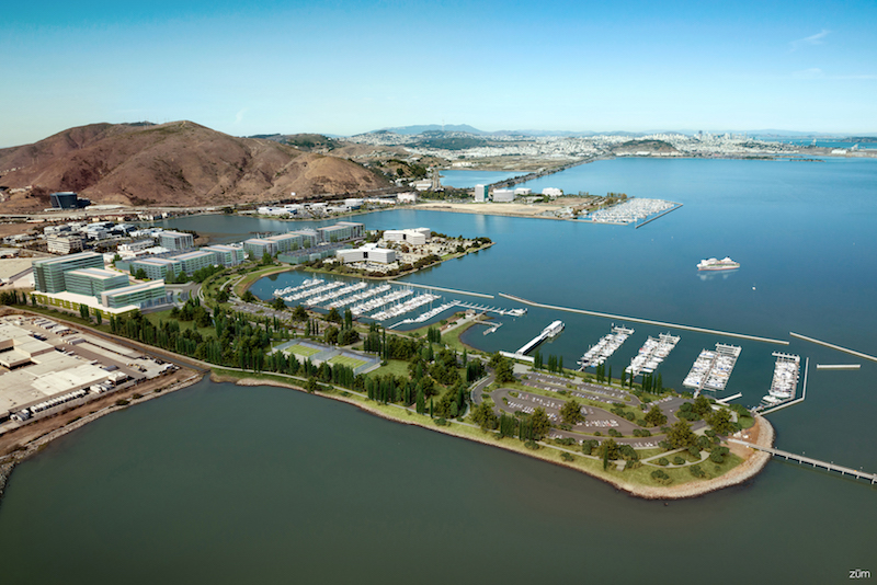 Oyster Point Marina aerial view with renderings Photo credit: The Registry