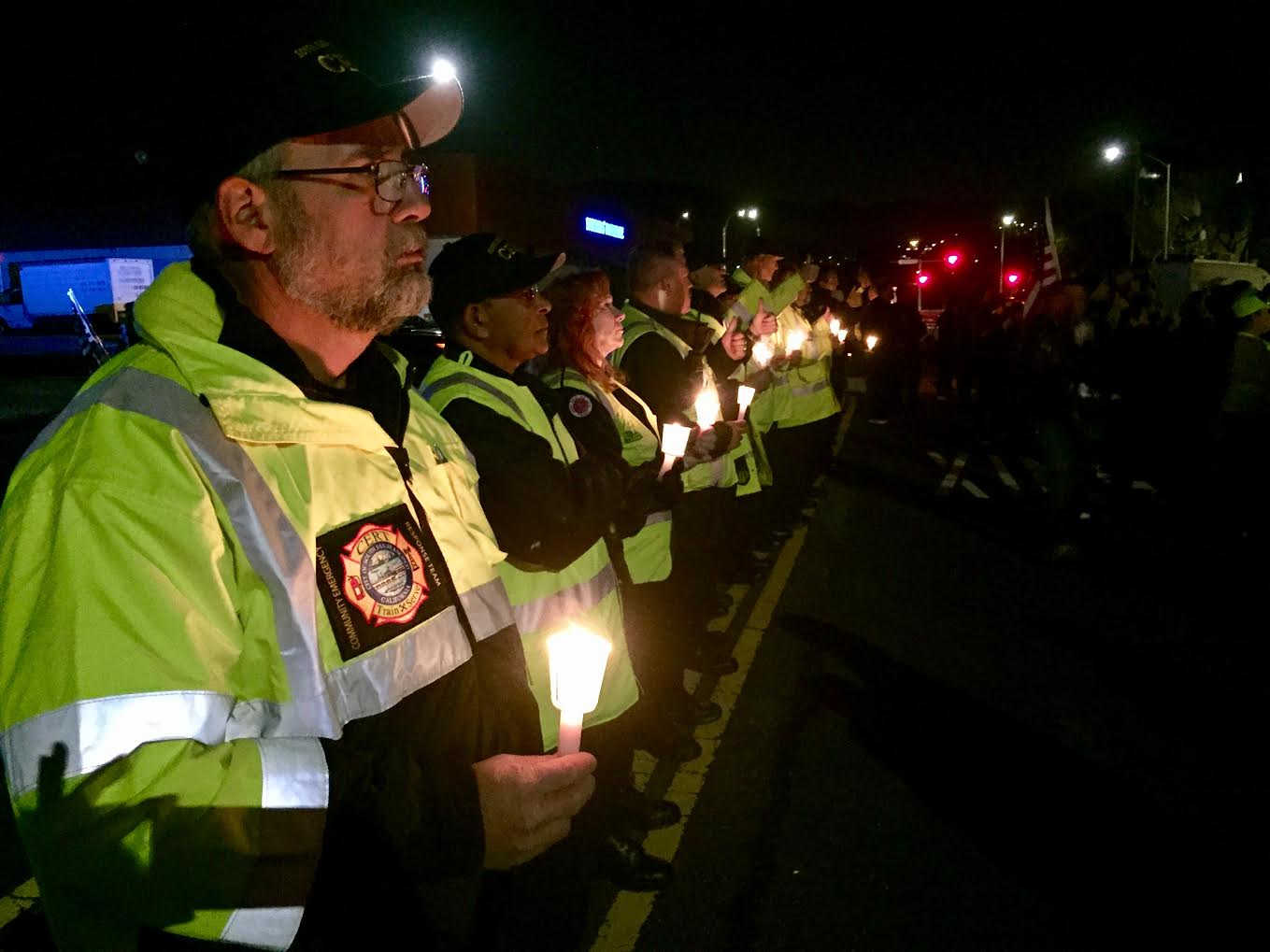 SSF CERT held a line of solidarity at the back of the crowd. Photo: Leslie Arroyo SSF