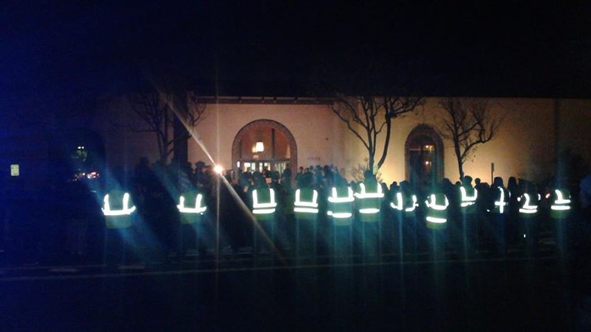 The SSFCERT maintained a line backing the vigil Photo: Paul Nemeth