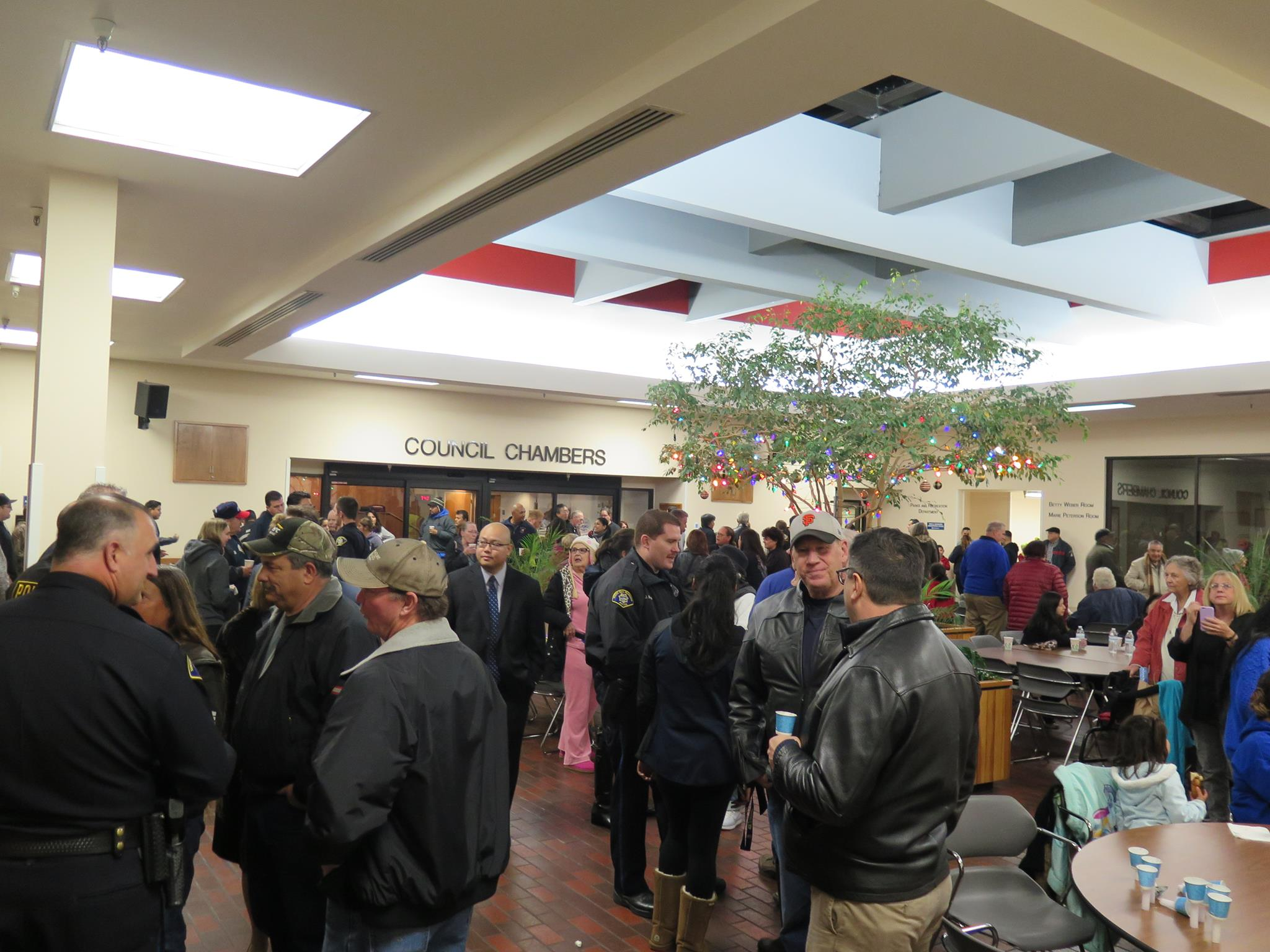 Community members met in the MSB Atrium after the vigil to talk amongst themselves.  Photo: SSFPD