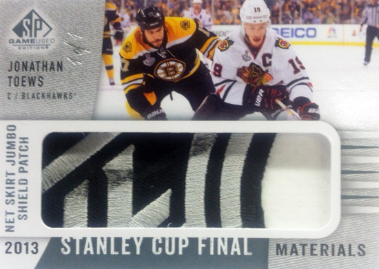 2013-14-NHL-SP-Game-Used-Stanley-Cup-Final-NHL-Shield-Net-Skirt-Jonathan-Toews