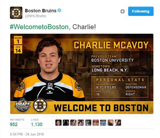 2016-NHL-Draft-Upper-Deck-First-Niagra-Buffalo-Social-Surprise-Lori-Boston-Bruins-Charlie-McAvoy-Tweet