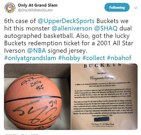 2019-upper-deck-authenticated-buckets-basketball-shaq-iverson-autographed-ball
