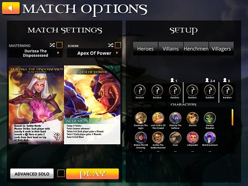 Legendary Match Options Screen