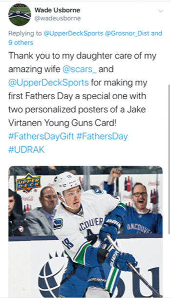 upper deck fathers day promotion get dad in the game canucks
