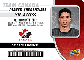 Quinton Byfield - Top Prospect Card - 2020 NHL Draft - Team Canada