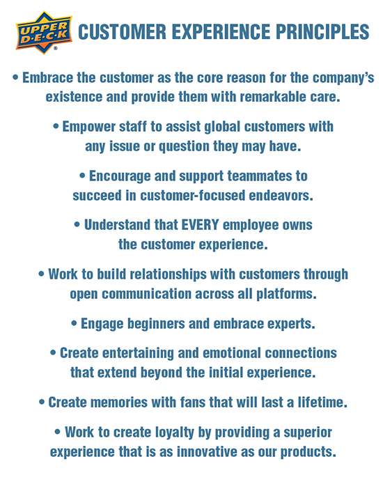 upper deck customer care service experience principles