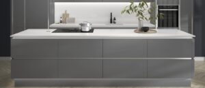 Howdens Hockley Mirror Gloss Slate Grey Linear Kitchen