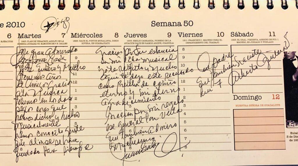 Personal note to Rigoberto Gomez Cova from Juan Gabriel