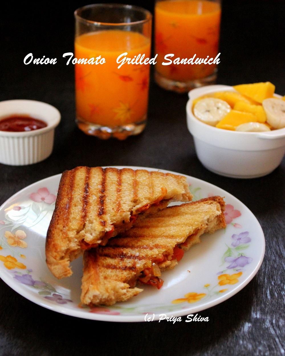 onion tomato grilled sandwich recipe