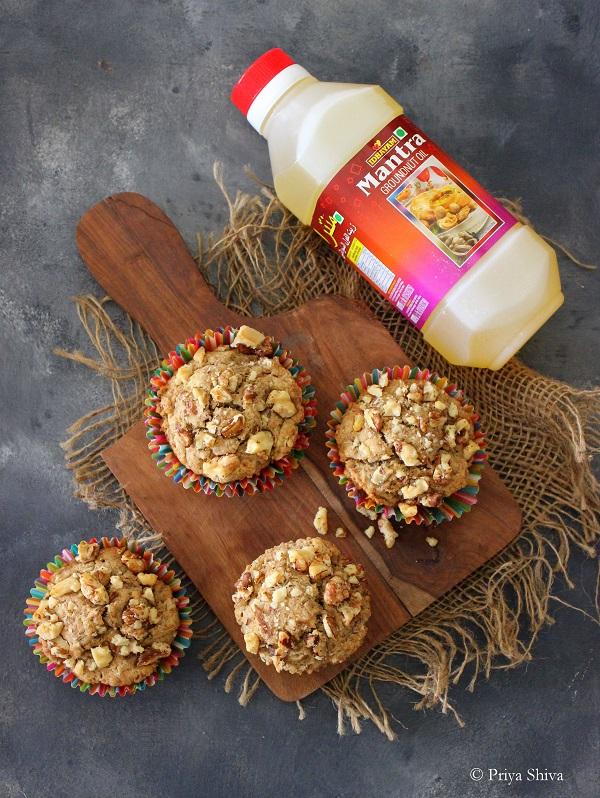 vegan banana muffins with idhayam mantra groundnut oil