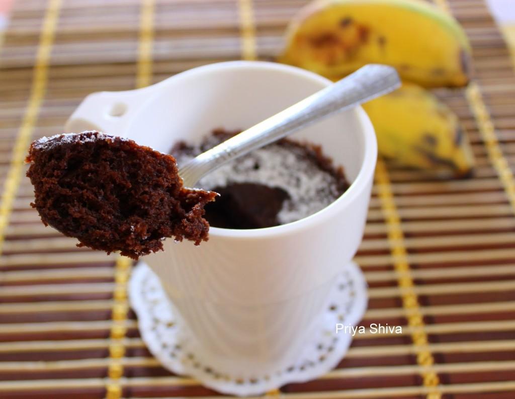 Eggless Nutella Banana Mug Cake