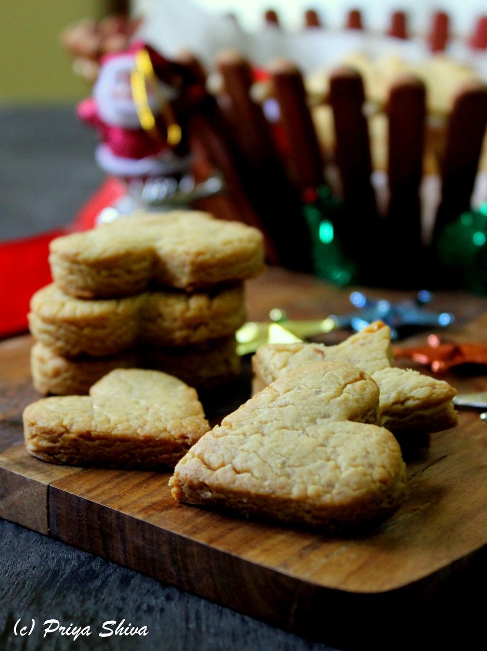 Eggless peanut butter shortbread cookies