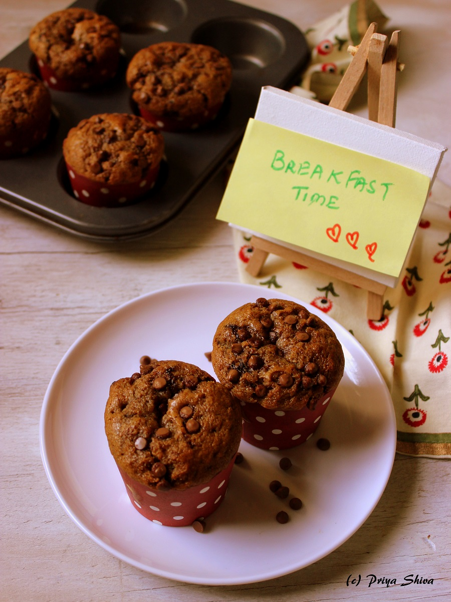 eggless coffee chocolate chip muffins